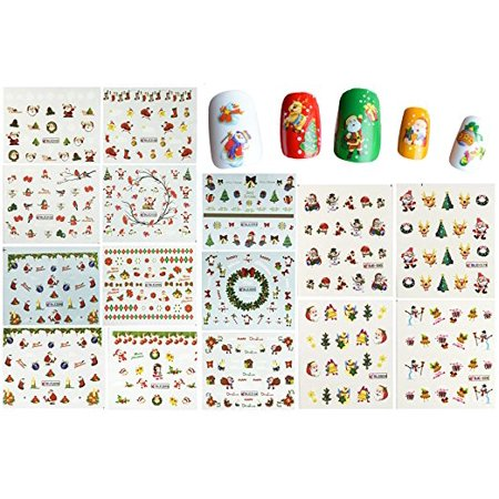 Wrapables® Christmas Water Slide Nail Art Decals Water Transfer Nail Decals (44 sheets/Over 800 - Christmas Nail Decals