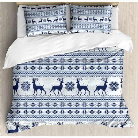 Nordic Duvet Cover Set, Pixel Art Style Christmas Pattern with Reindeer and Snowflake Motifs, Decorative Bedding Set with Pillow Shams, Dark Blue Pale Blue White, by Ambesonne ()