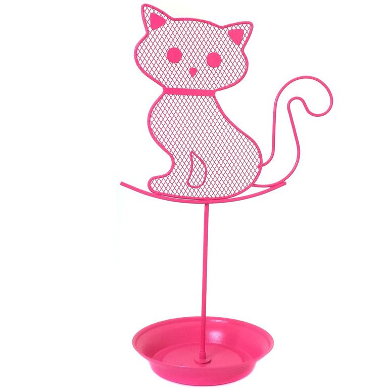 Cute Cat Jewelry Organizer Pink Earring Jewelry Stand Dresser Top