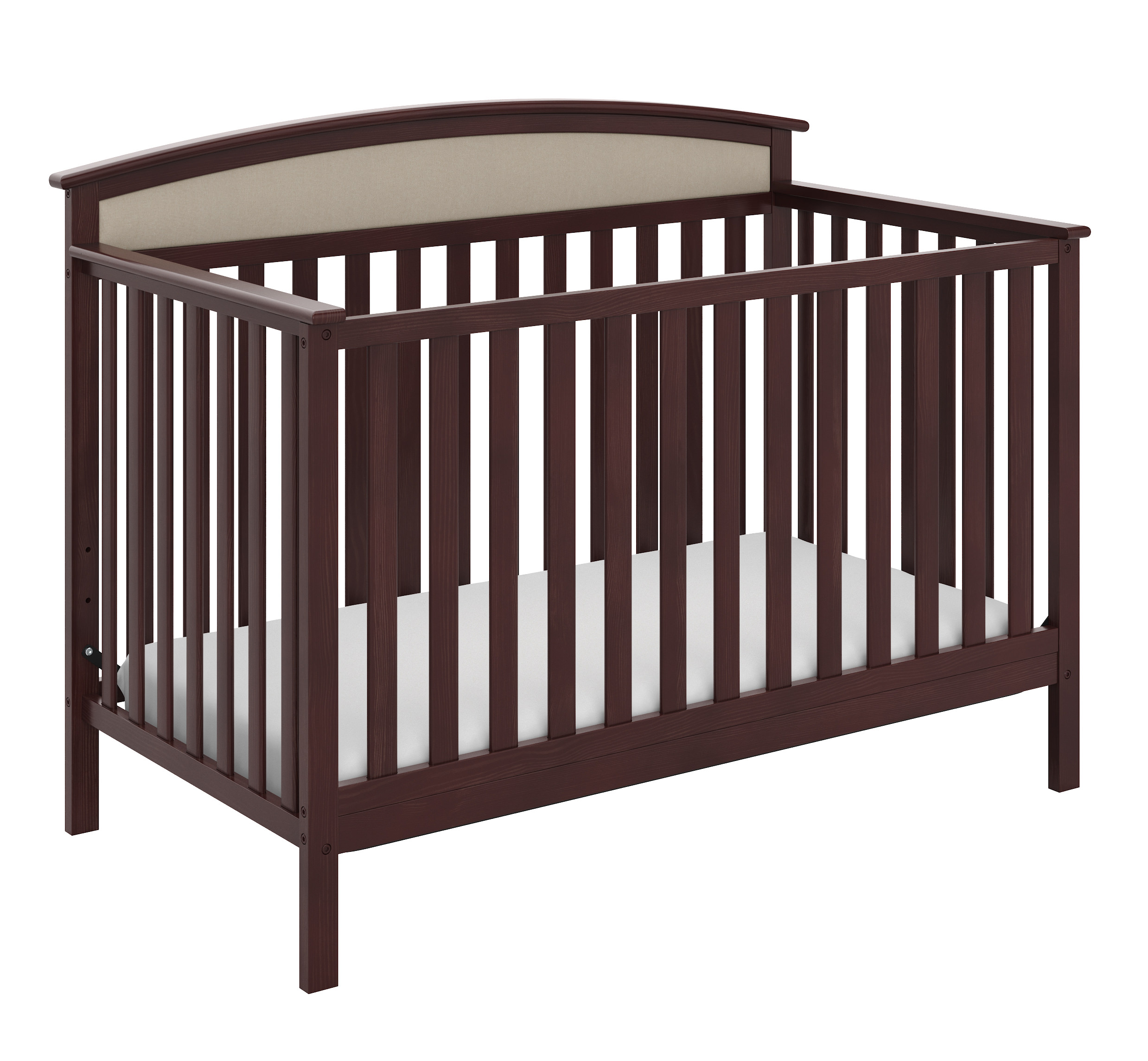 Graco Mackenzie 5-in-1 Upholstered Convertible Crib with Reversible Headboard Espresso/Sand