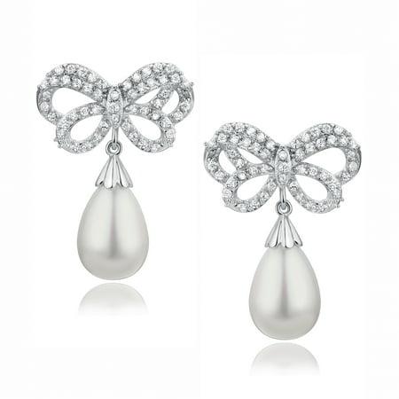Butterfly W. Teardrop Shell Pearl and Cubic Zirconia  Earrings for Women Girls White Gold