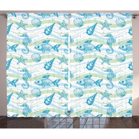 Nautical Curtains 2 Panels Set, Marine Ocean Shell Starfish Oyster Mollusk Sea Horse Underwater Aquatic Pattern, Window Drapes for Living Room Bedroom, 108W X 90L Inches, Mint Blue, by Ambesonne