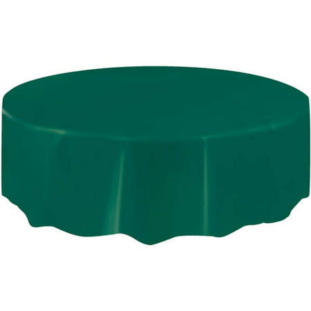 Forest Green Plastic Party Tablecloth, Round, 84in