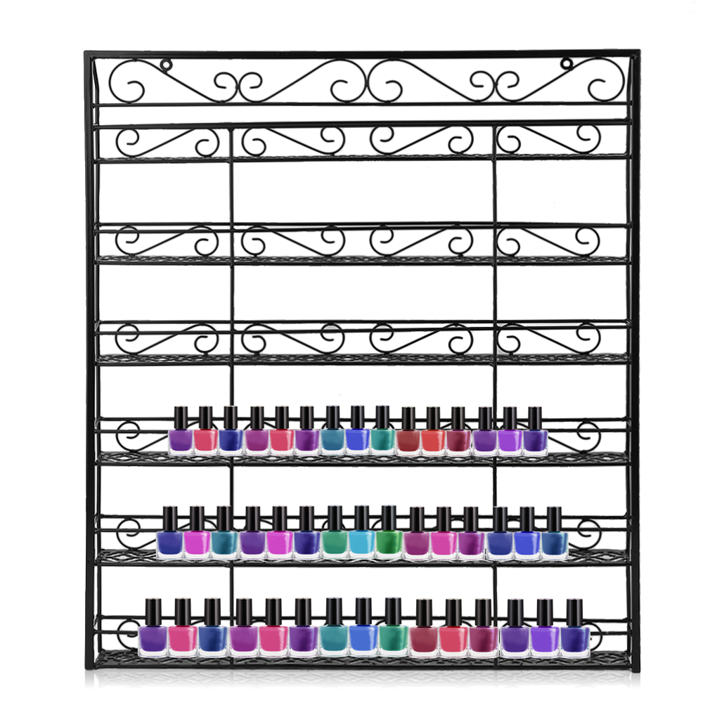 Black Square 6 Tiers Nail Polish Wall Mount Rack Holder Shelf Up To 180 Bottle