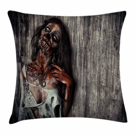 Zombie Decor Throw Pillow Cushion Cover, Angry Dead Woman Sacrifice Fantasy Mystic Night Halloween Image, Decorative Square Accent Pillow Case, 18 X 18 Inches, Dark Taupe Peach Red, by Ambesonne