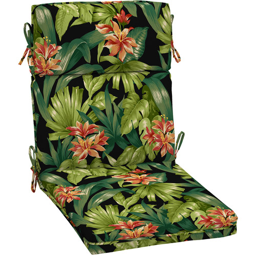 Better Homes and Gardens Dining Chair Outdoor Cushion, Black Tropical Hibiscus
