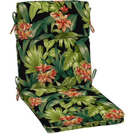 Better Homes and Gardens Dining Chair Outdoor Cushion, Black Tropical  Hibiscus - Better Homes And Gardens Dining Chair Outdoor Cushion, Black