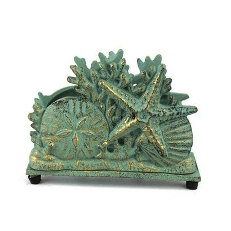 "Antique Bronze Cast Iron Seashell Napkin Holder 7"" - Decorative Sea Shell - Beach Kitchen Ideas"