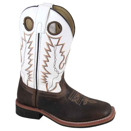 Smoky Mountain Kid's Jesse Brown Waxed/White Cowboy Boots 3664