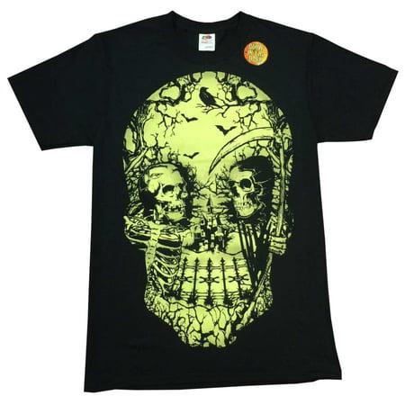 Halloween Mens Black Skull Graveyard Scene Glow In The Dark T-Shirt - Halloween Graveyard Scenes