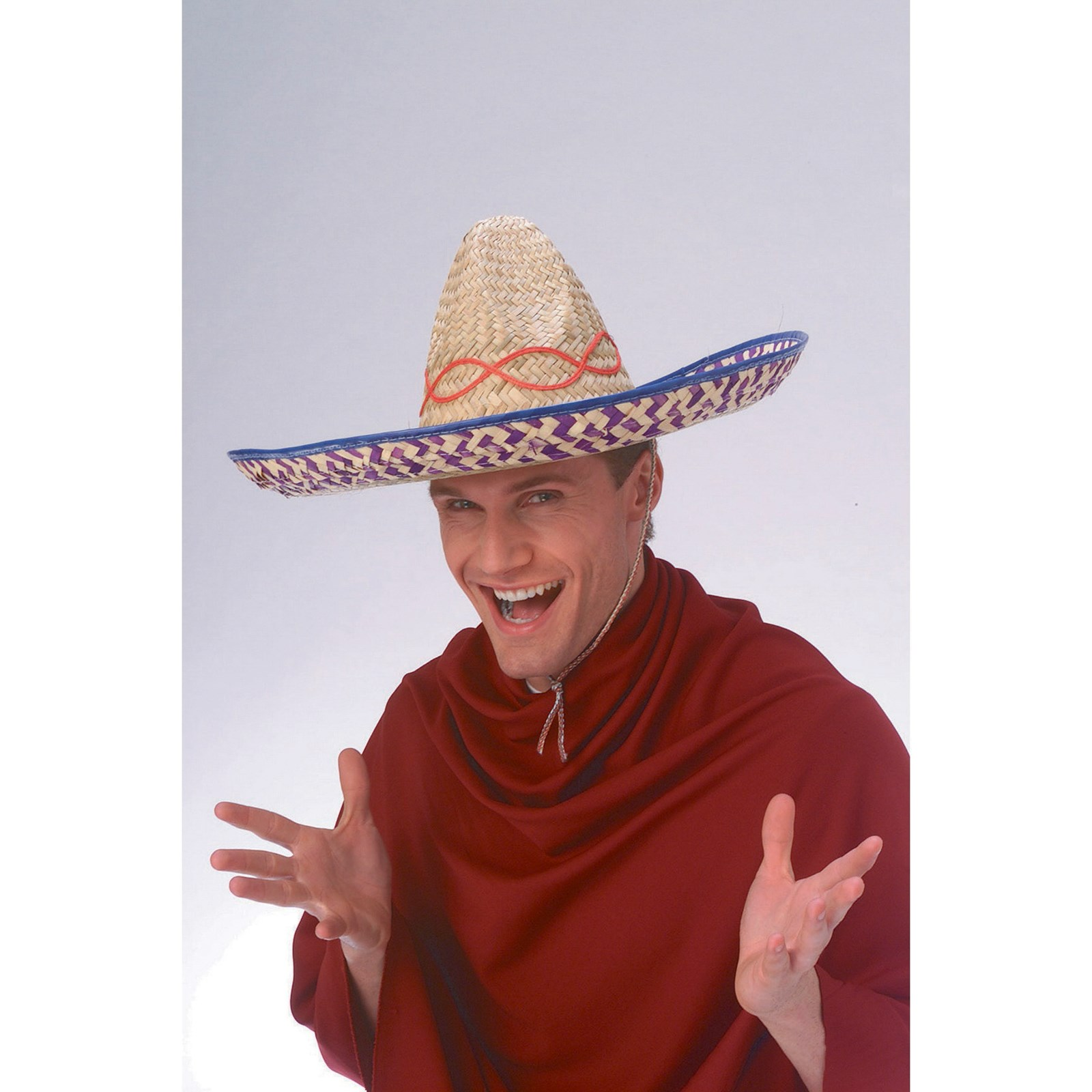 Embroidered Straw Sombrero Halloween Costume Accessory