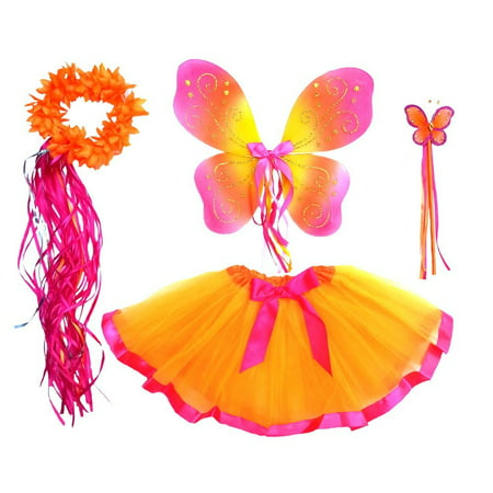 Girls Hot Pink and Bright Orange Fairy Costume For Age 3-7