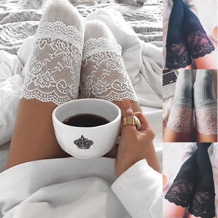 Women Lace Trim Thigh High OVER the KNEE Socks Long Cotton Warm Stockings #480