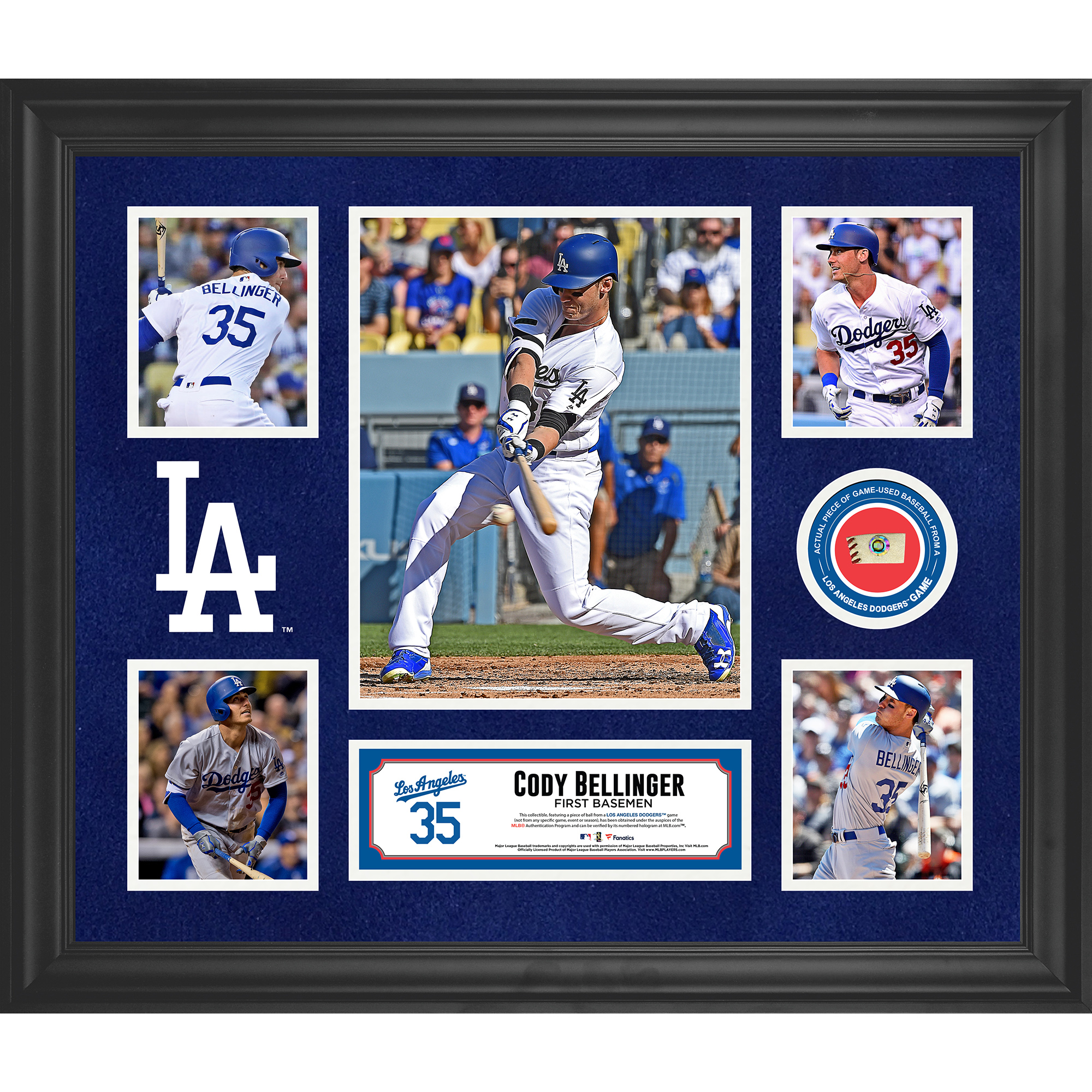 """Cody Bellinger Los Angeles Dodgers Fanatics Authentic Framed 20"""" x 24"""" 5-Photo Collage with a Piece of Game-Used Baseball - No Size"""