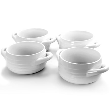 Gibson Town Market Square 4 Piece set of 29.7 Oz White Soup Bowls with Handles