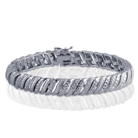 Luxurious 0.02 Cttw Natural Diamond Accent Bracelet In 14K White Gold Plated