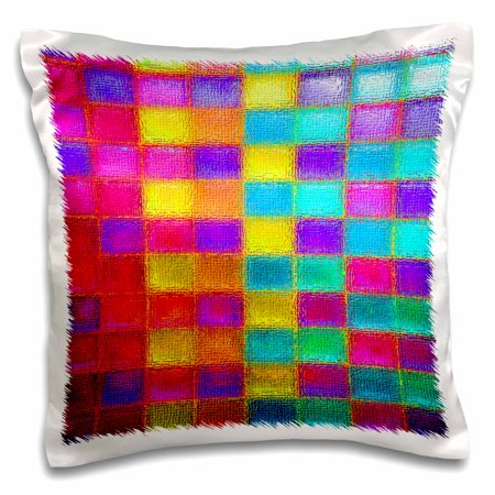 3drose checkered multi colored squares in neon bright colors pillow case 16 by 16 inch. Black Bedroom Furniture Sets. Home Design Ideas
