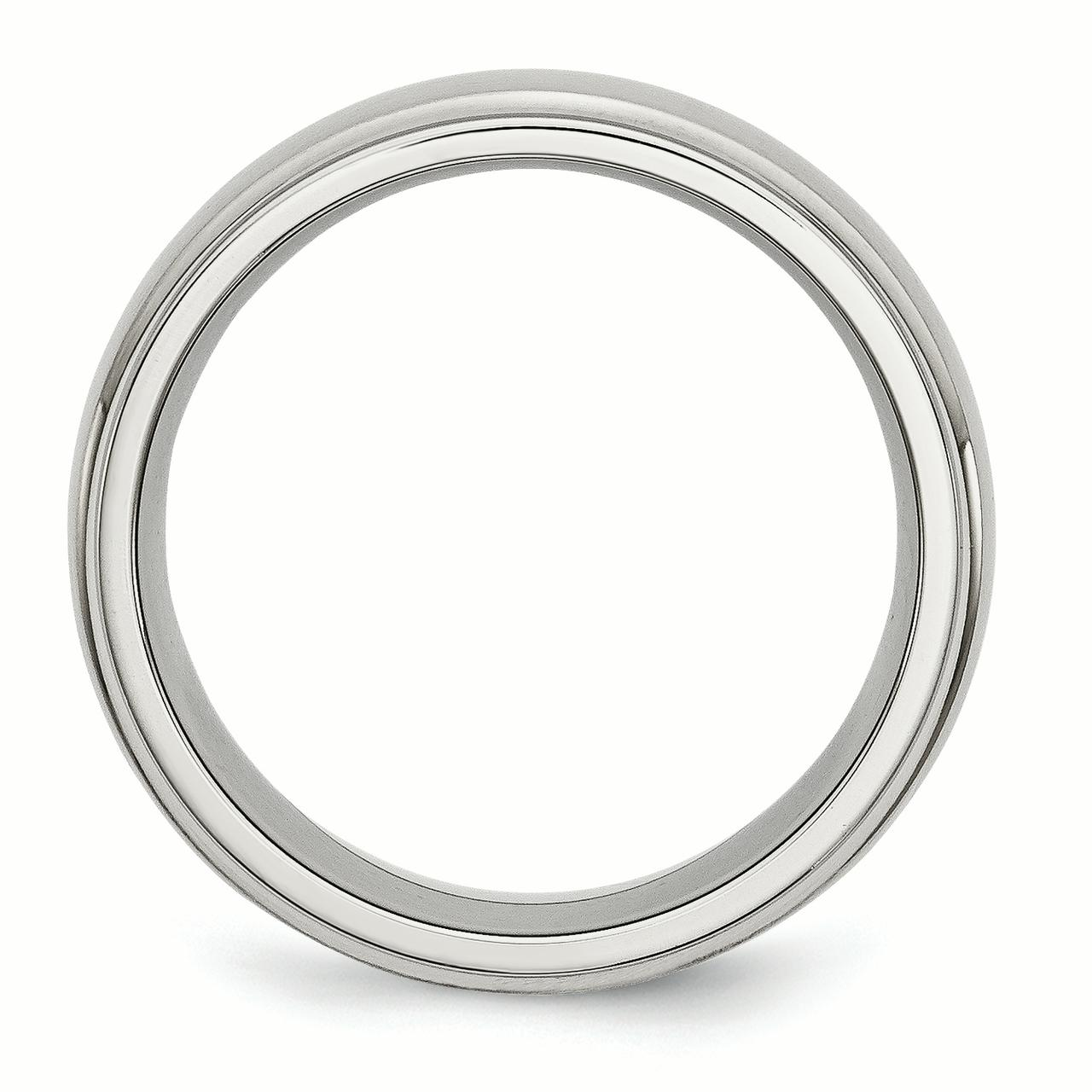 Stainless Steel Ridged Edge 8mm Brushed Wedding Ring Band Size 10.00 Classic Domed W/edge Fashion Jewelry Gifts For Women For Her - image 4 of 5