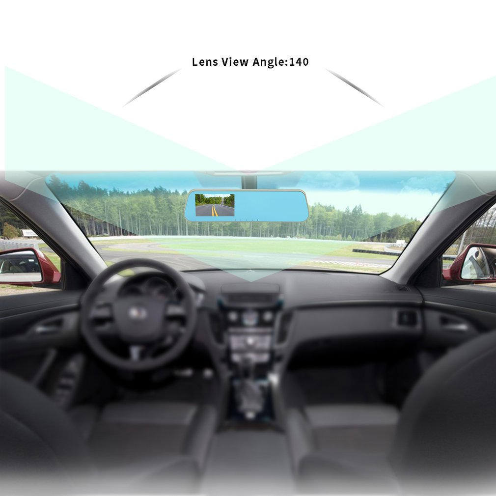 F1C 1080P HD Dual Lens 4.3 TFT Rearview Mirror Dual Channel Car Recorder