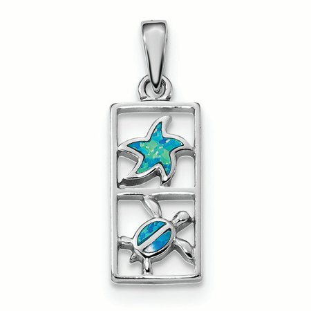 Sterling Silver Blue Created Opal Starfish Turtle Charm Pendant