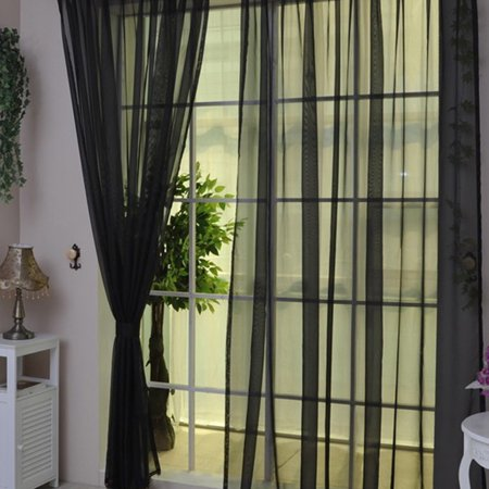 Transparent Tulle Voile Yarn Curtain Solid Color Door Window Curtain Drape Panel Sheer Curtain Valances Glass Curtain ()