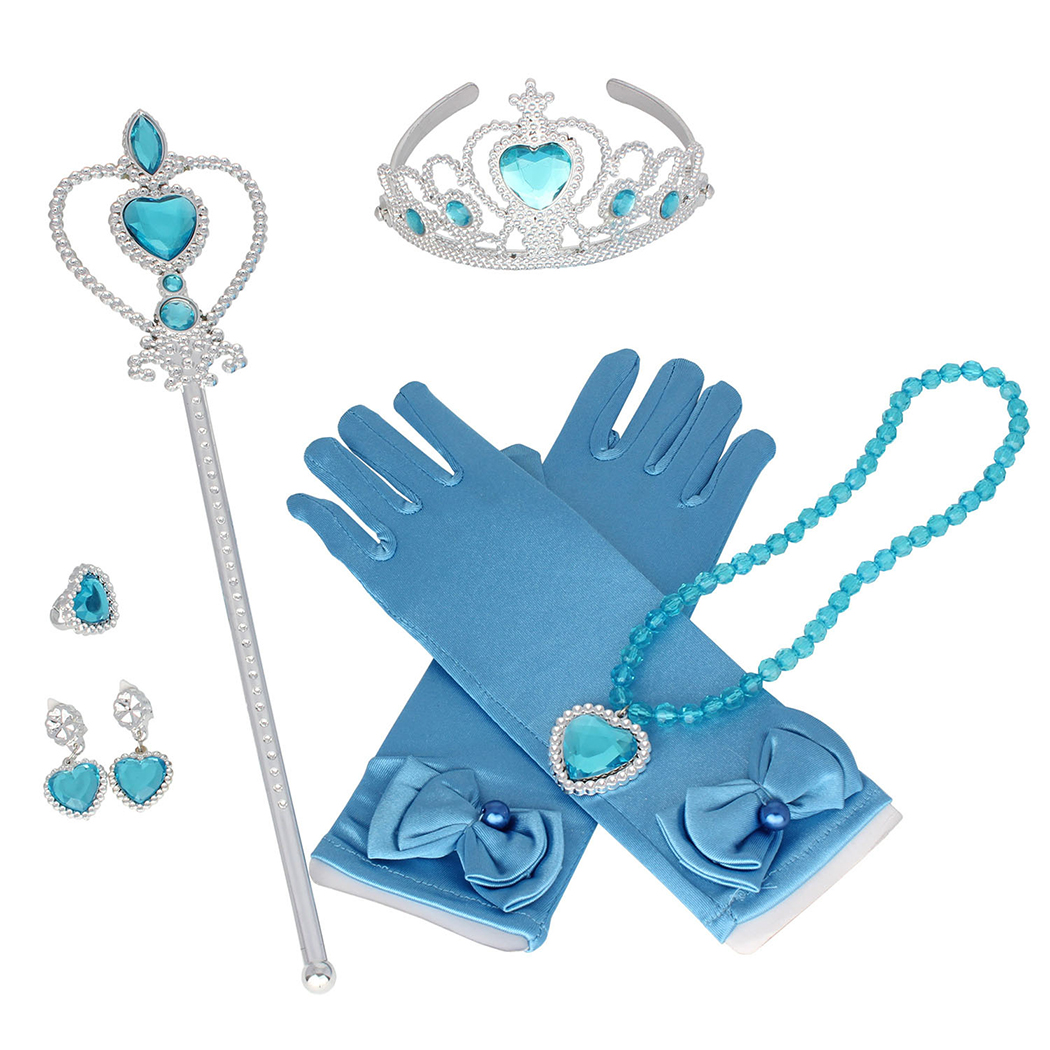 Aniwon 6PCS Princess Dress up Accessories Set Cute Princess Jewelry Crown Gloves Set, Christams Party Cosplay Costumes New Year Birhtday Gifts for Kids Girls