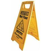 Renown Wet Floor Sign, English And Spanish, Yellow