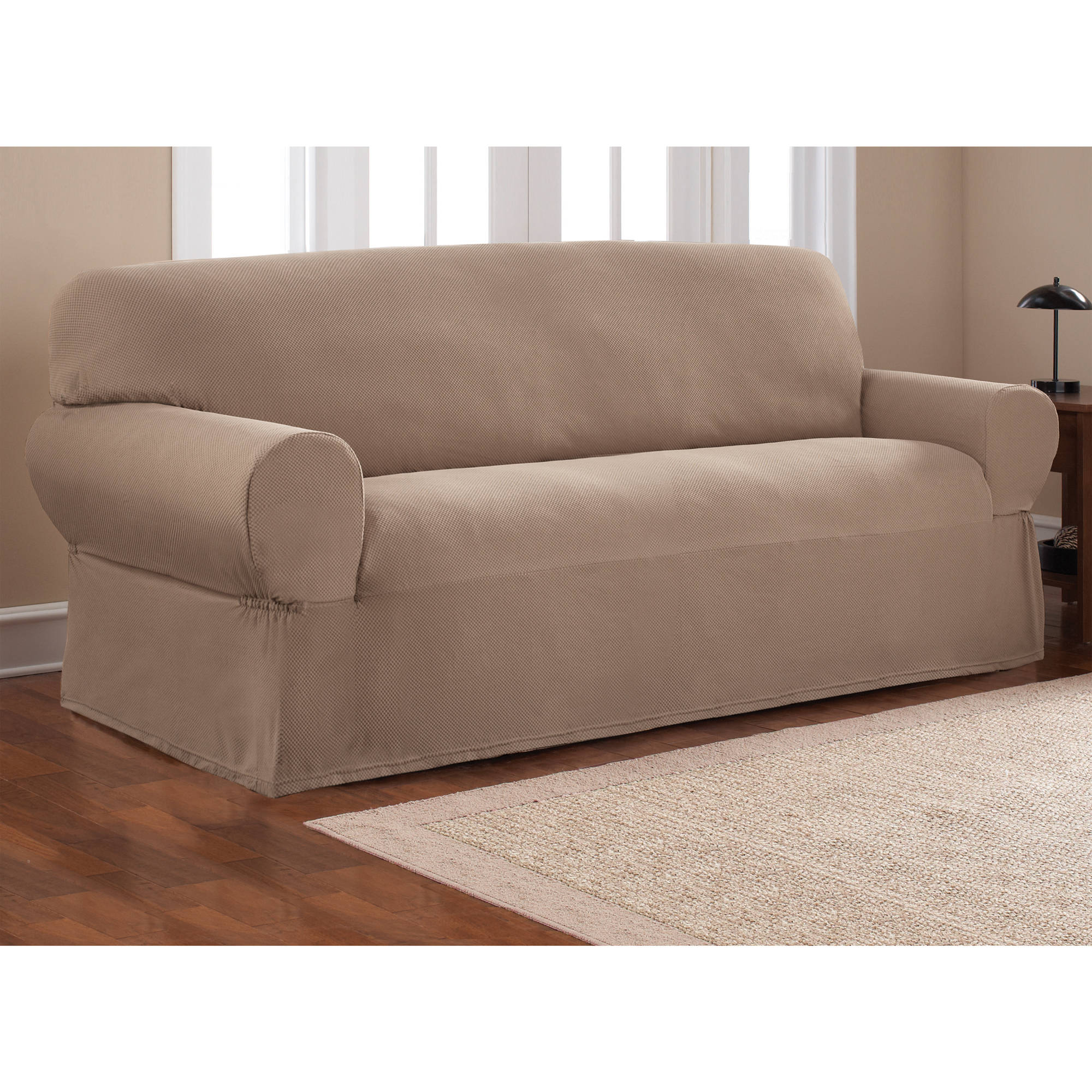 Mainstays Stretch Pixel 1 Piece Sofa Furniture Cover Slipcover, Chocolate  Brown   Walmart.com