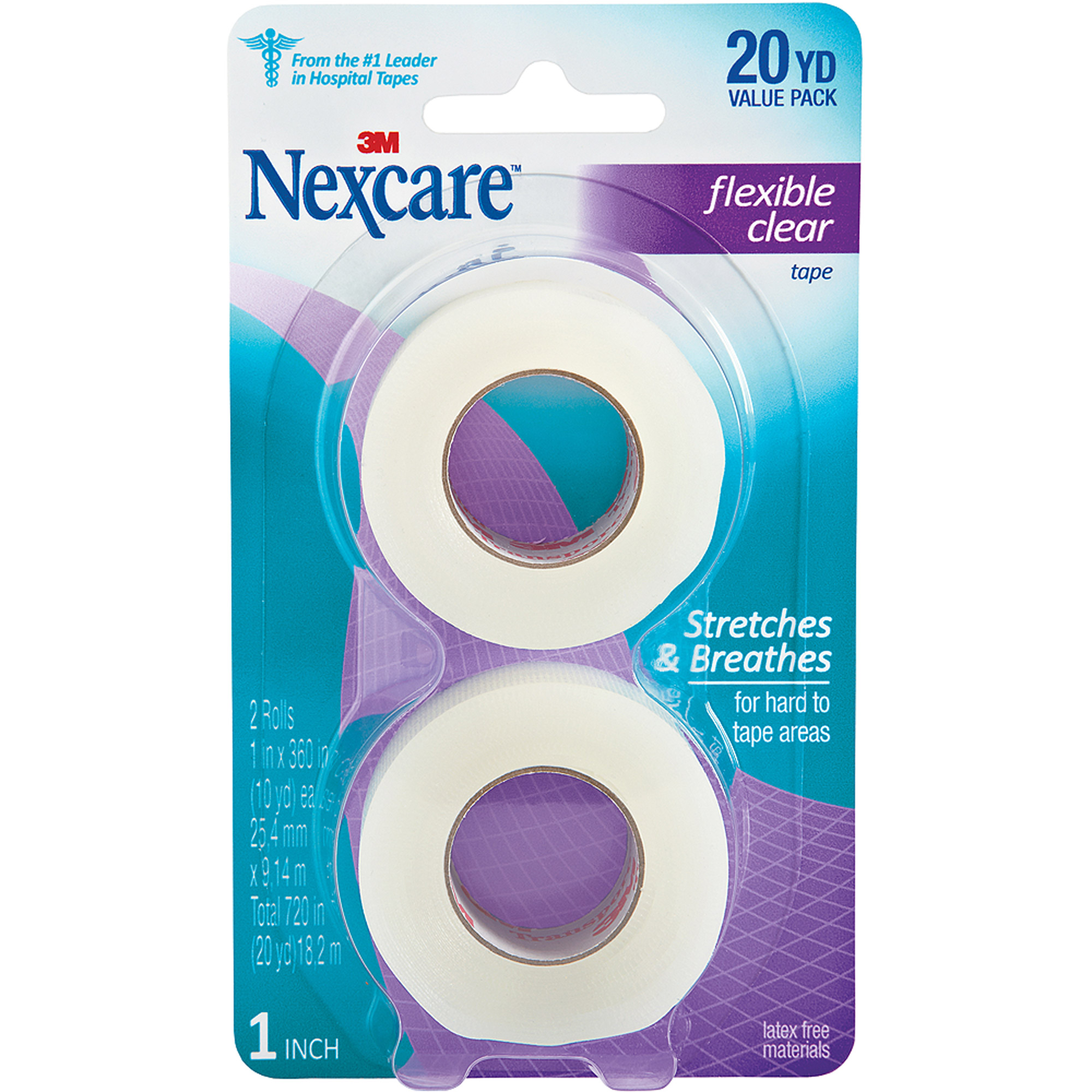 Nexcare Flexible Clear First Aid Tape, 771-2PK, 1 in x 10 yds, 2 Rolls