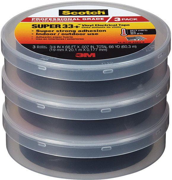 "Scotch 6132-BA-3PK-6 Super 33+ Vinyl Electrical Tape, 3/4"" W x 66' L"