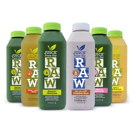 Juice From the RAW 3-Day Juice Cleanse with Cashew Milk - COLD-PRESSED (NEVER BLENDED) - 18 Bottles (16 fl