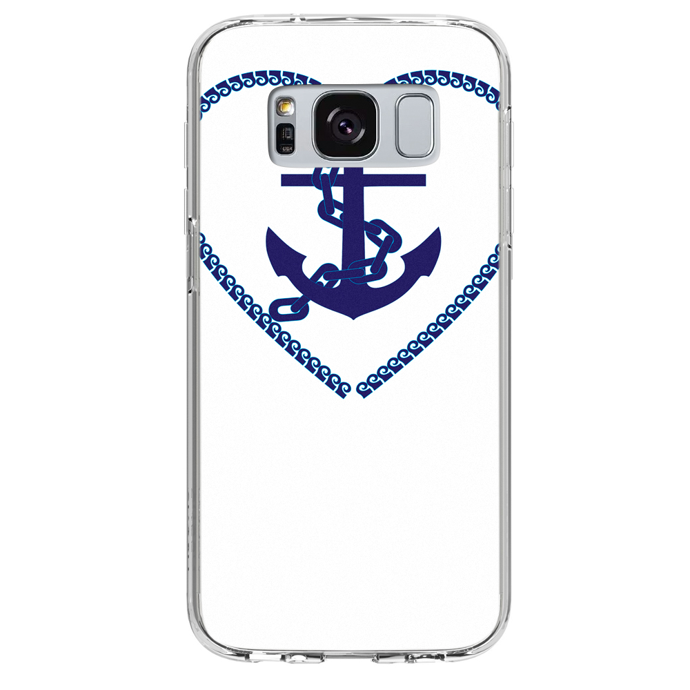 Image Of Blue Anchor in a Heart on White Samsung Galaxy S8 Phone Case