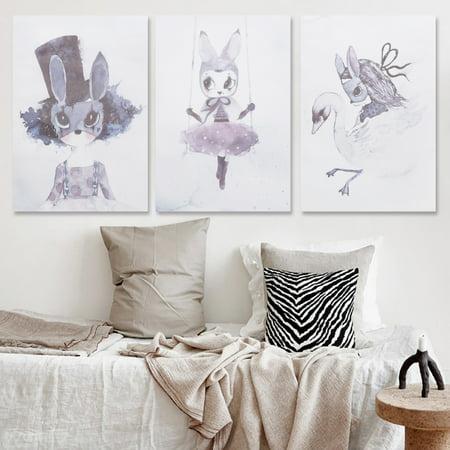 Mrosaa Unframed Nursery Cartoon Canvas Art Prints Poster Wall Art Hanging Print Painting Picture Home Decor - (Poster Canvas Art Painting)