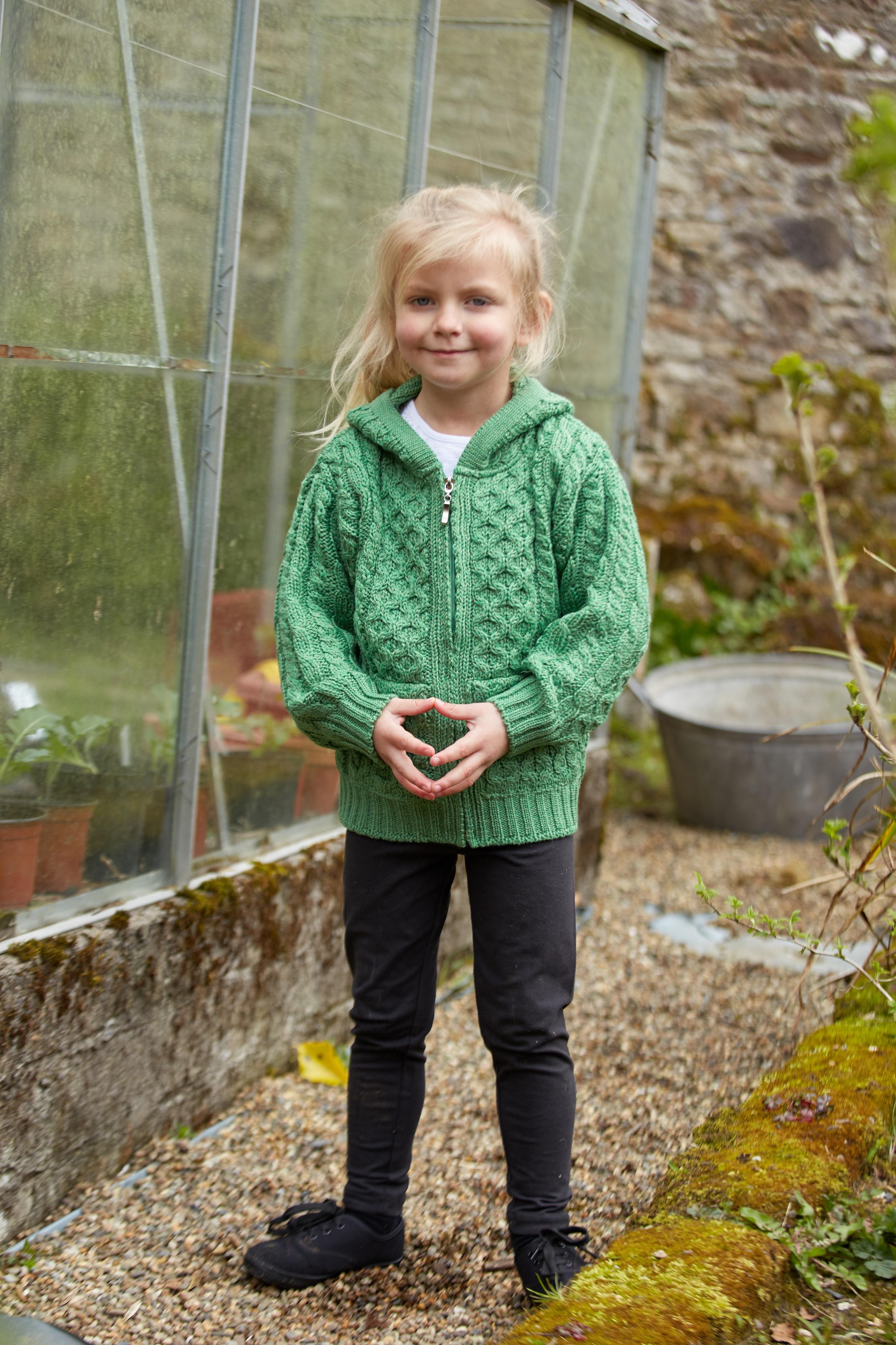 Irish Merino Wool Boys Hooded Zip Sweater with Pockets