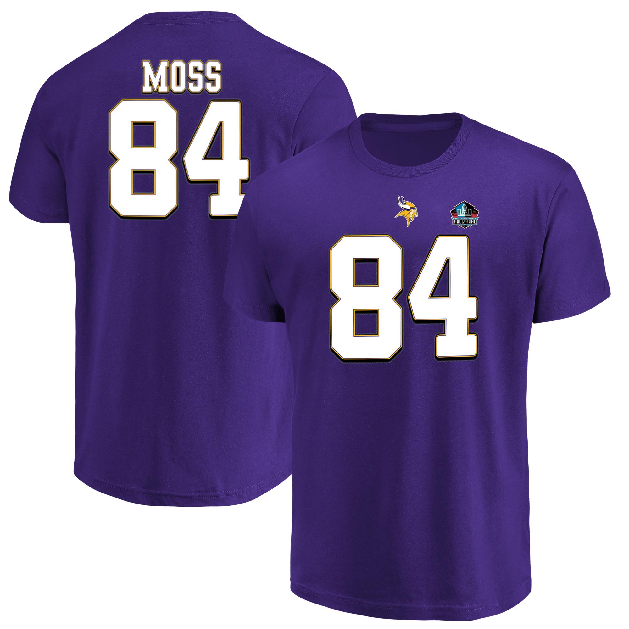 Randy Moss Minnesota Vikings Majestic Hall of Fame Inductee Player Name & Number T-Shirt - Purple