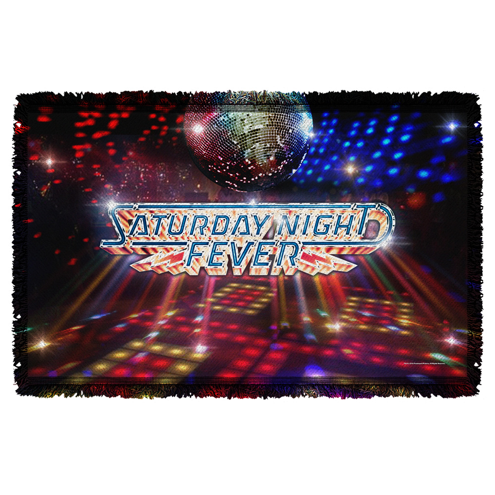 Saturday Night Fever Dance Floor Woven Throw White 48X80