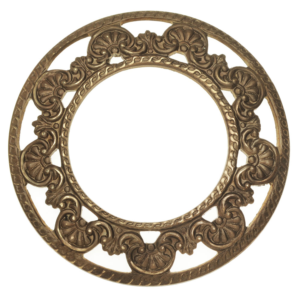Vintaj Natural Brass, Domed Scrollwork Layering Window 45mm, 1 Piece, Brass