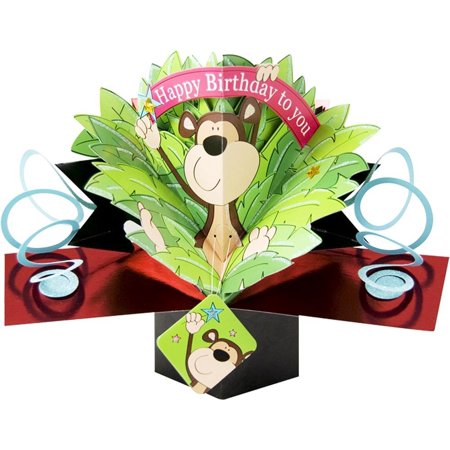 Birthday Paper Products (1 X - 010 - MONKEY - BIRTHDAY CARD [Office Product], A Miracle in Paper Engineering By The Original Pop)