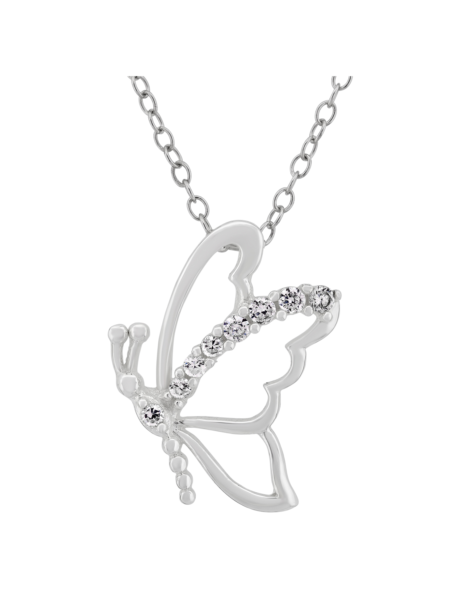 18 inch Sterling Silver Cubic Zirconia Cat Necklace /& two Brilliant Cut 3//4 high