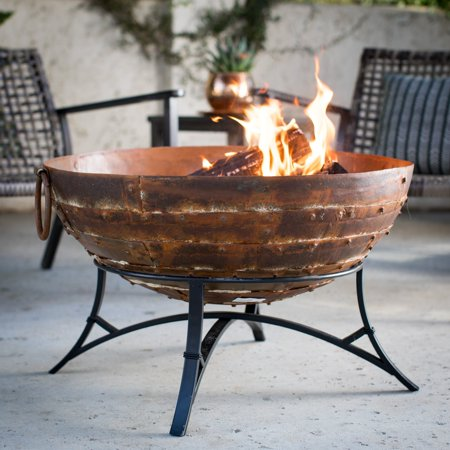 Red Ember Cabris Patchwork Iron Bowl Wood Burning Fire Pit with - Pit Bull Stand