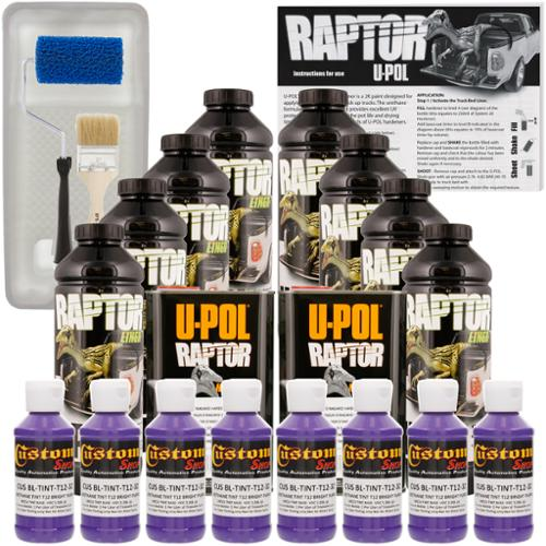 Raptor Bright Purple Urethane Spray-On Truck Bed Liner Roller,Tray,Brush8 Liters