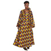 African Planet Women's Dress Royalty Yellow Afro Inspired Yellow Cotton Wax Wrap Around Kenya Inspired Printed