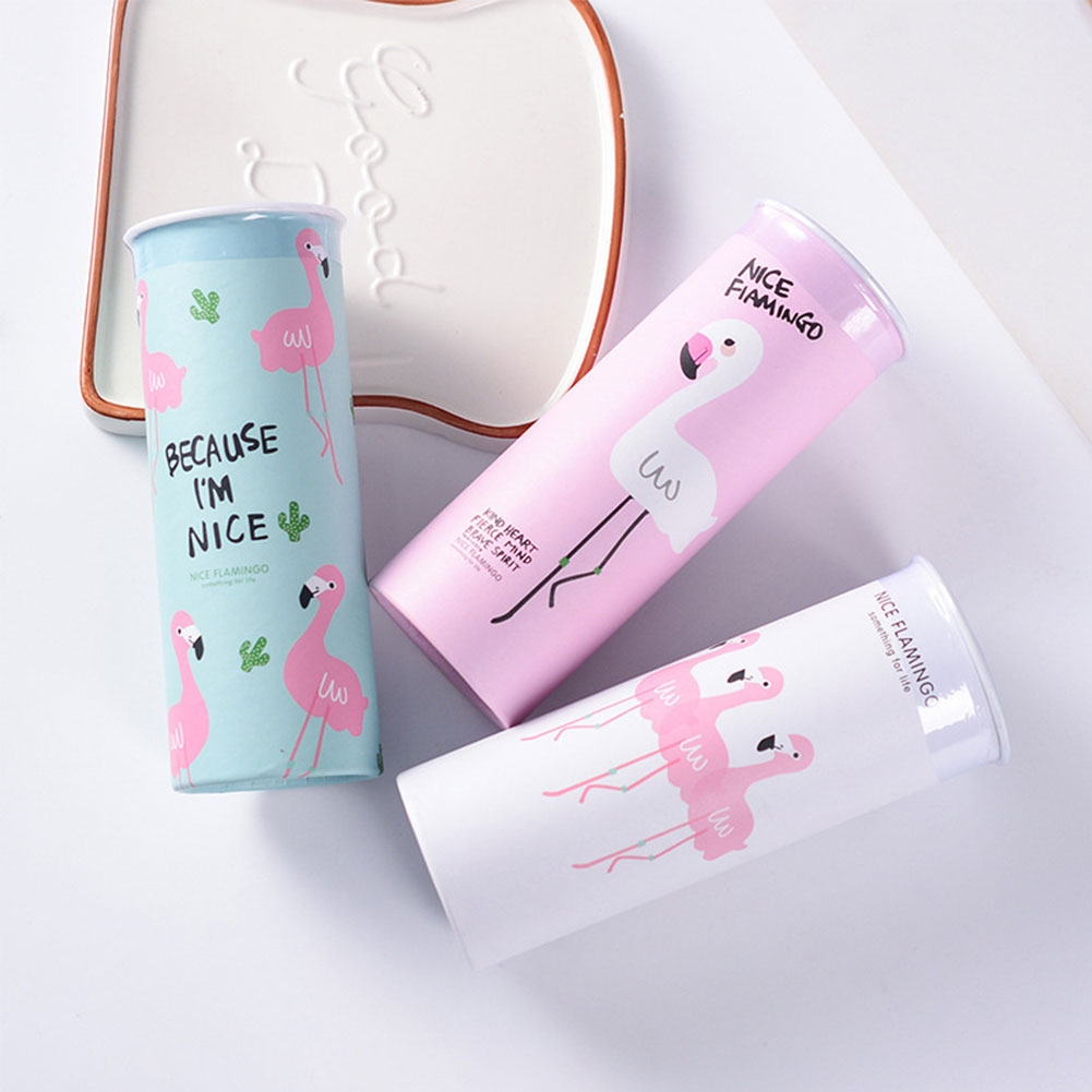 Moderna 1Pc 40 Times 3 Layers Facial Tissues Flamingo Print Cylinder Box for Car Home