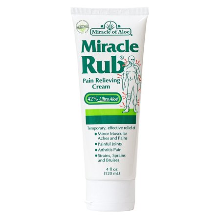 Rub 2 Ounce Cream - Miracle Rub Pain Relieving Cream 4 ounce tube with 42% UltraAloe