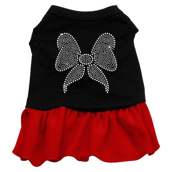 Mirage 57-09 XLBKRD Rhinestone Bow Dog Dress Black With Red XL