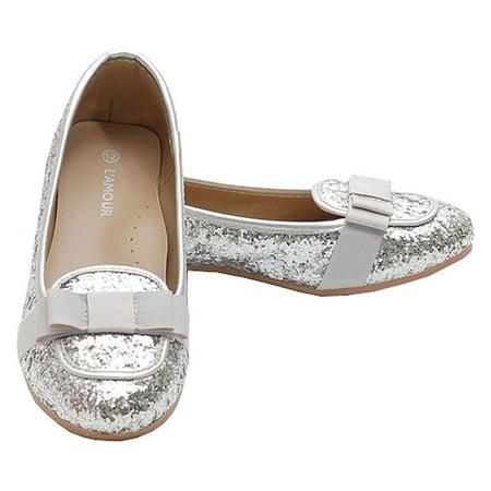 IM Link - Silver Glitter Bow Slip On Loafer Dress Shoes ...