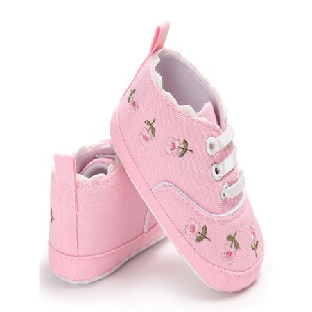 52513aec208eda Newborn Infant Baby Girls Floral Crib Shoes Soft Sole Anti-slip Sneakers  Canvas - Walmart.com