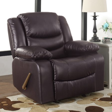 Madison Home USA Classic Overstuffed Manual Rocker (Overstuffed Brown Leather)