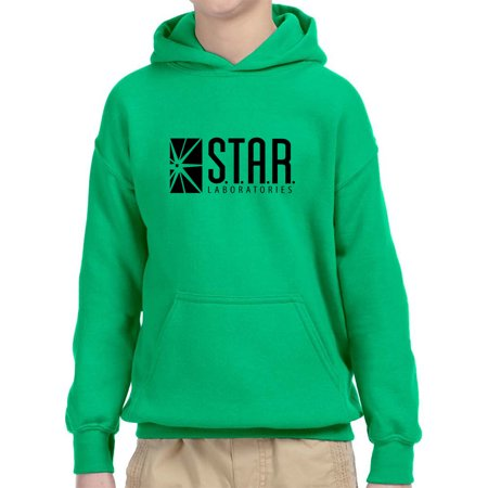 Trendy USA 1171 - Youth Hoodie Star Laboratories Labs Comic Hero Unisex Pullover Sweatshirt Small Kelly Green - Lamb Hoodie