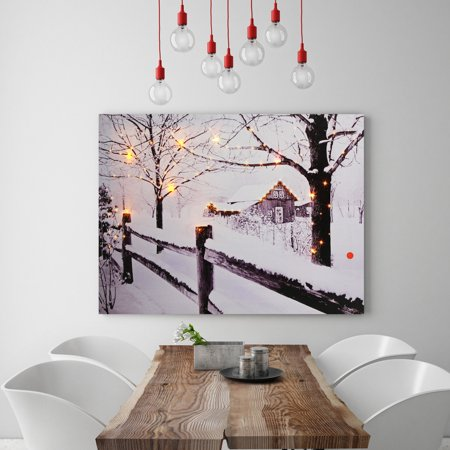 Animal Theme LED Light Up Penguin Reindeer Canvas Pictures Wall Sticker Art Home Decor ()